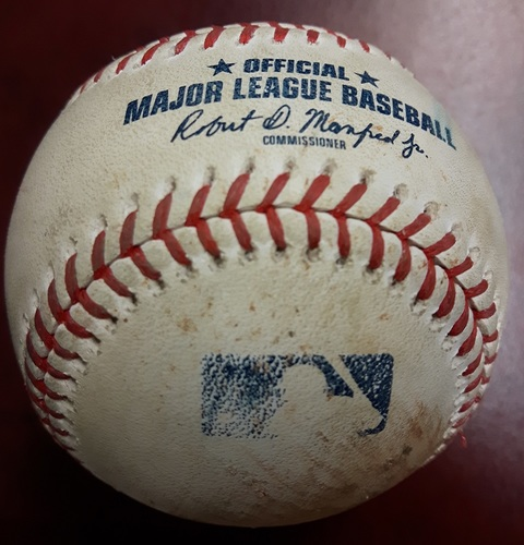 Photo of Authenticated Game Used Baseball - James Paxton's No Hitter Game on May 8, 2018. Ball in Dirt from Tim Mayza to Robinson Cano (Top 6)