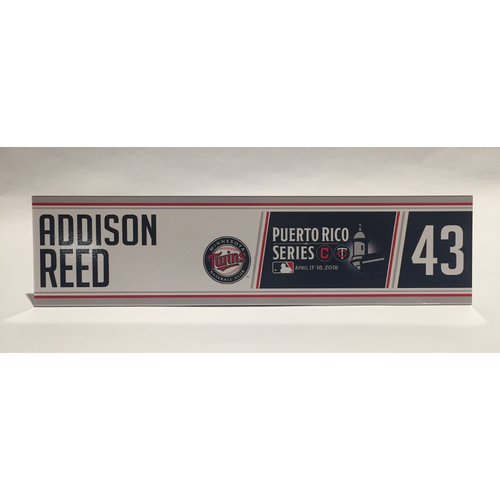 Photo of 2018 Puerto Rico Series - Addison Reed Game-Used Locker Name Plate