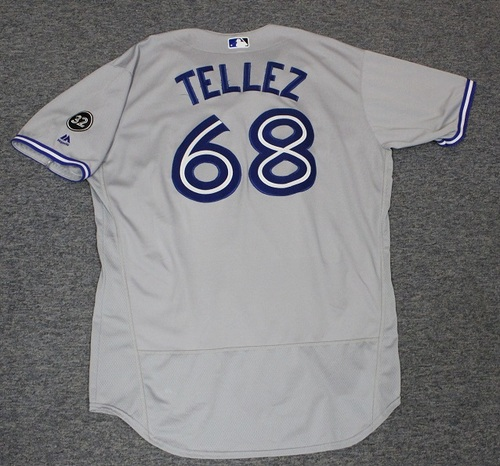 Photo of Authenticated Game Used Jersey - #68 Rowdy Tellez (Sept 12, 2018: 1-for-3 with 1 2B. Sept 28, 2018: 1-for-5 with 1 HR, 2 Runs and 1 RBI). Size 50. Rookie Season.