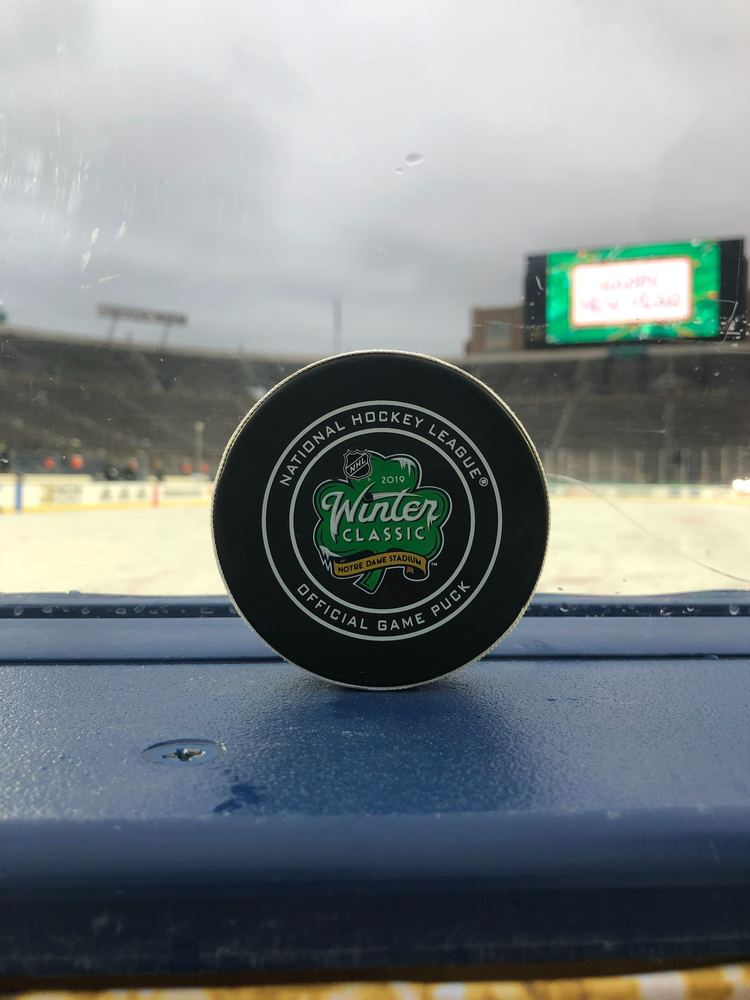 Boston Bruins vs. Chicago Blackhawks 2019 NHL Winter Classic Game-Used Puck - Used During Second Period