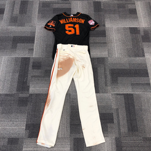 Photo of 2019 Game Used Spring Training Jersey and Pants worn by #51 Mac Williamson on 3/26 vs. Oakland A's - Jersey Size 46 & Pants Size 35-45-37