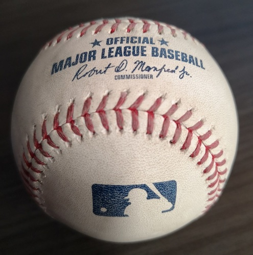 Photo of Authenticated Game Used Baseball (MLB Debut for Vladimir Guerrero Jr.): Foul Ball by Teoscar Hernandez against Yusmeiro Petit (Apr. 26, 19 vs OAK). Bottom 9.