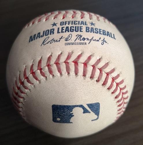 Photo of Authenticated Game Used Baseball (MLB Debut for Vladimir Guerrero Jr.): Foul Ball by Teoscar Hernandez against Yusmeiro Petit (Apr. 26, 19 vs OAK). Bottom 9.
