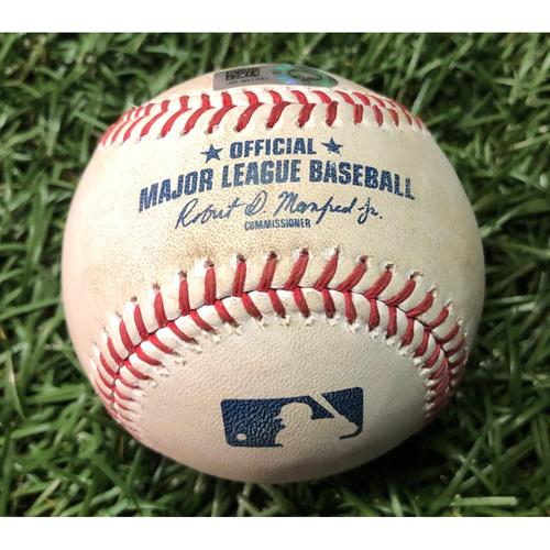 Photo of Game Used Baseball: Giancarlo Stanton single off Chaz Roe - September 24, 2019 v NYY