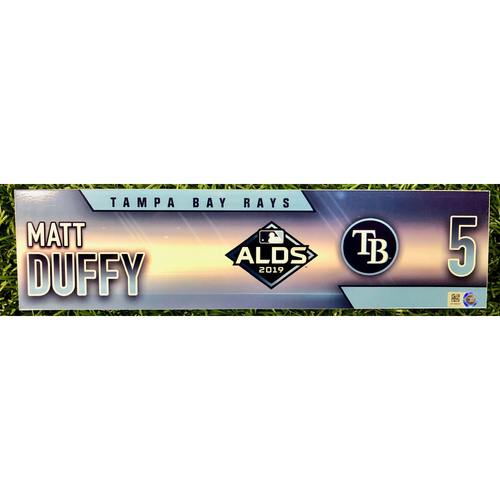 Photo of Game Used ALDS Locker Tag: Matt Duffy - October 4, 5 & 10, 2019 at HOU