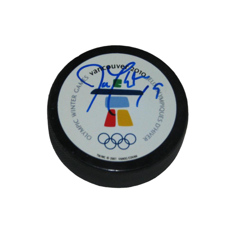 JOE THORNTON Signed 2010 Vancouver Olympics Puck - San Jose Sharks
