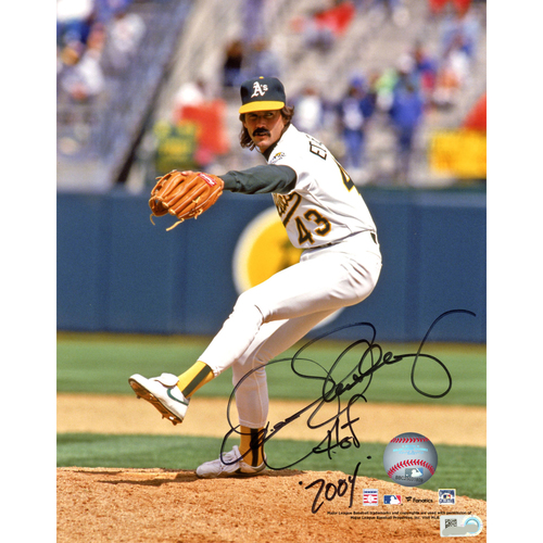 "Photo of Dennis Eckersley Oakland Athletics Autographed 8"" x 10"" Pitching Photograph with HOF 04"