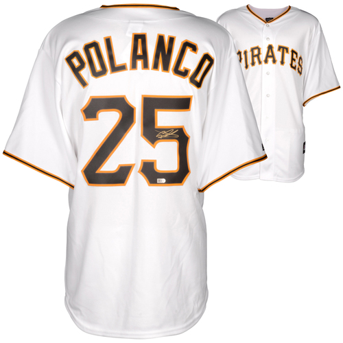 Photo of Gregory Polanco  Pittsburgh Pirates Autographed Replica White Jersey
