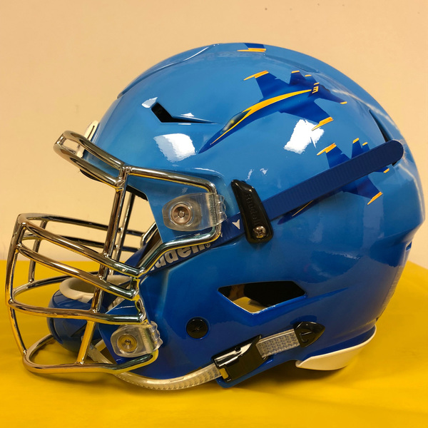 Photo of Game Worn Hand-Painted Blue Angel-Inspired Army/Navy Game and Military Bowl Football Helmet