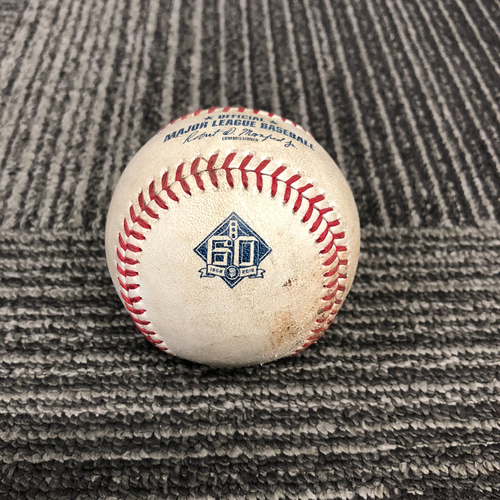 Photo of San Francisco Giants - 2018 Game Used Baseball - 9/29/18 vs. Los Angeles Dodgers - T-7: Derek Holland to Cody Bellinger - Ball 1. Prev. Manny Machado Flies Out to CF