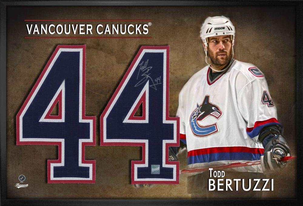 Todd Bertuzzi Signed Jersey Number Framed Print Canucks White ...