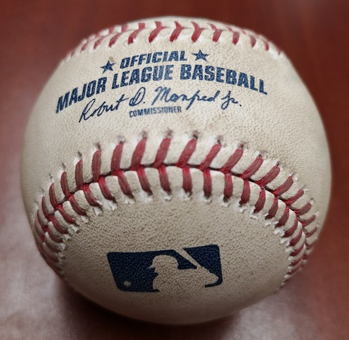 Photo of Authenticated Game Used Baseball - March 31, 2019 vs Tigers: Trent Thornton Strikes Out Miguel Cabrera (T1). MLB Debut for Thornton.