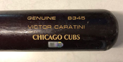 Photo of Victor Caratini Game-Used Cracked Bat -- Joe Musgrove to Victor Caratini, Single, Top 6 -- Cubs at Pirates -- 9/26/19