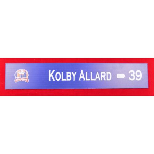Photo of Final Season Game-Used Locker Tag - Kolby Allard - 9/28/19 vs NYY