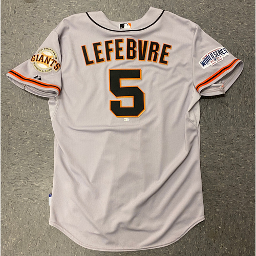 Photo of 2014 Game Used World Series Road Jersey worn by #5 Joe Lefebvre for World Series Games 1 & 6 @ Kansas City Royals - Size 48