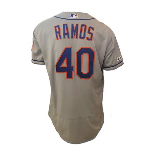 Photo of Wilson Ramos #40 - Game Used Road Grey Jersey - Ramos Goes 4-5, 6 RBI's (Career High), 1 Run Scored - Mets vs. Pirates - 8/3/19
