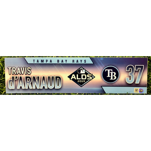 Photo of Game Used ALDS Locker Tag: Travis d'Arnaud - Starting Catcher - October 4, 5 & 10, 2019 at HOU
