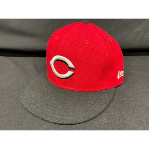 Photo of Nick Castellanos -- Game-Used Cap -- Worn During Wade Miley No-Hitter on May 7, 2021 - Reds @ Indians -- Size 7 3/8
