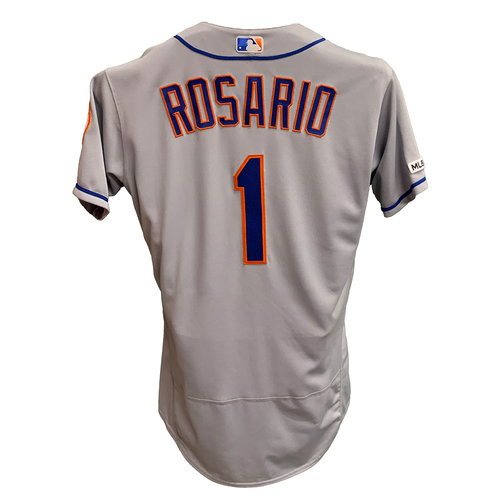 Photo of Amed Rosario #1 - Game Used Road Grey Jersey - 3-5, 3 RBI's and 1 Run Scored - Mets vs. Royals - 8/18/19