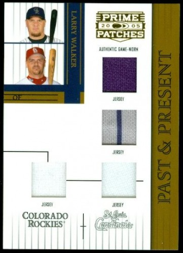 Photo of 2005 Prime Patches Past and Present Double Swatch Combo #19 Larry Walker J-J-J-J/150