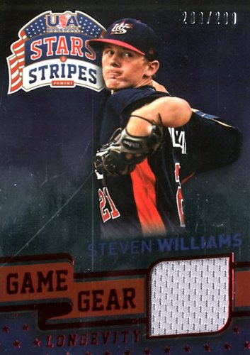 Photo of 2015 USA Baseball Stars and Stripes Game Gear Materials Longevity Ruby #88 Steven Williams/299