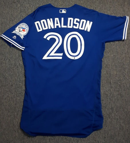 Photo of Authenticated Game Used Jersey - #20 Josh Donaldson (June 8, 2016). Donaldson went 3-for-4 with 1 HR, 1 triple, 3 runs and 3 RBIs. Size 46