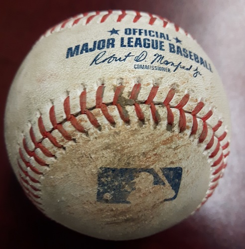 Photo of Authenticated Game Used Baseball - James Paxton's No Hitter Game on May 8, 2018. Jake Petricka strikes out Kyle Seager and gets Mitch Haniger to Fly Out (Top 7)