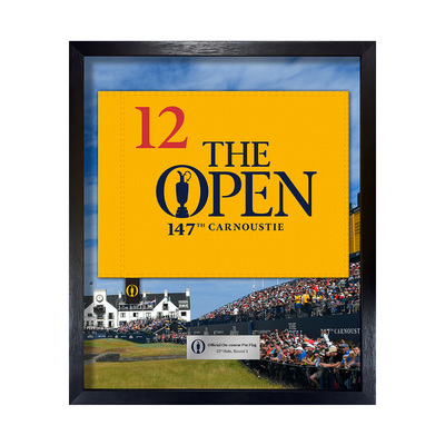 Photo of The 147th Open On-course Pin Flag, 12th Hole, Round 3 Framed