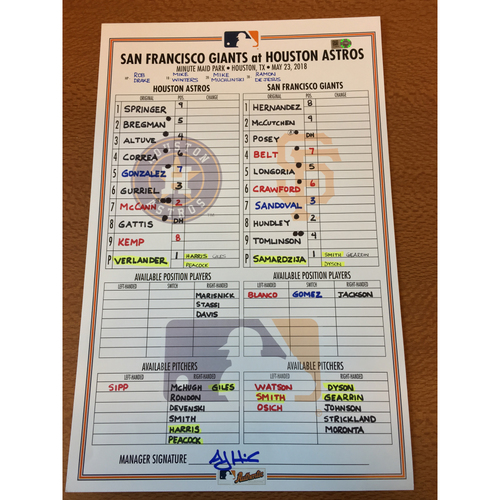 Photo of 2018 Game-Used Lineup Card - 5/23/18 vs SFG