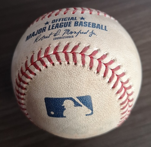 Photo of Authenticated Game Used Baseball (MLB Debut for Vladimir Guerrero Jr.): Single to CF by Teoscar Hernandez against Mike Fiers (Apr. 26, 19 vs OAK). Bottom 7.