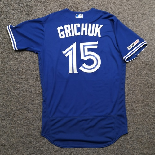 Photo of Authenticated Game Used Jersey: #15 Randal Grichuk (Sept 14, 19 vs NYY: 1-for-3). Size 44.