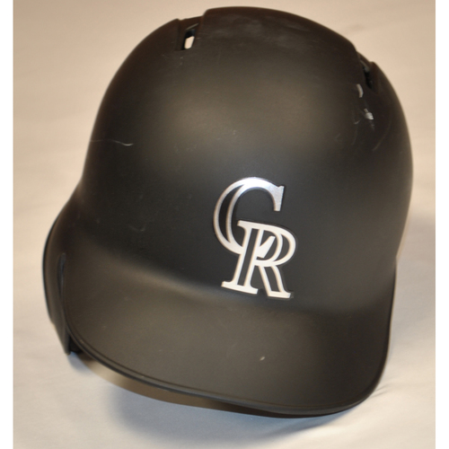 Photo of DJ Johnson Colorado Rockies Team Issued 2019 Players' Weekend Helmet - Size 7 3/8