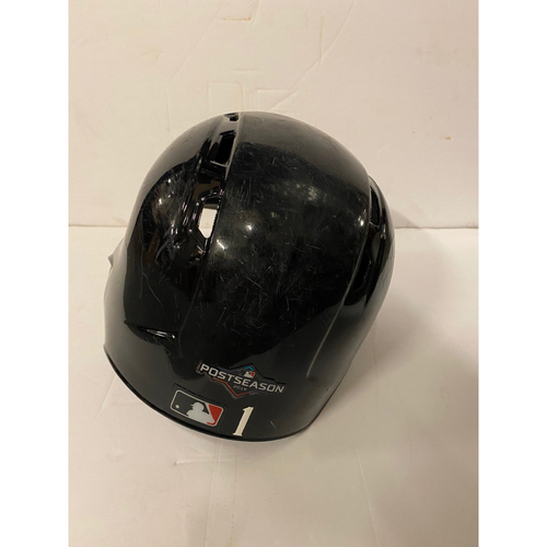 Photo of Ozzie Albies Team Issued Road Helmet with 2019 Postseason Sticker