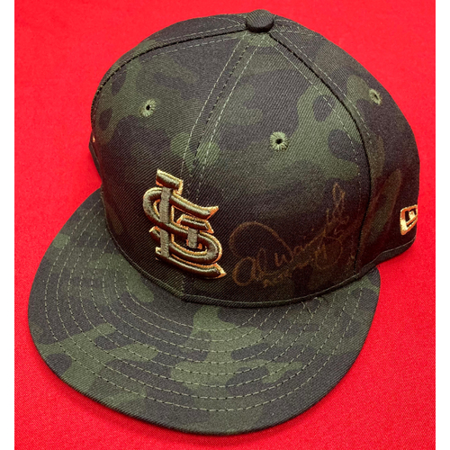 Photo of Adam Wainwright Autographed Team-Issued Camo Cap (Size 7 5/8)