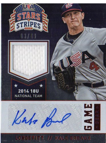 Photo of 2015 USA Baseball Stars and Stripes Game Gear Materials Signatures Longevity Ruby #53 Kale Breaux/49