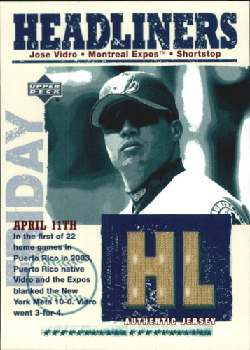 Photo of 2004 Upper Deck Headliners Jersey #JV Jose Vidro AS