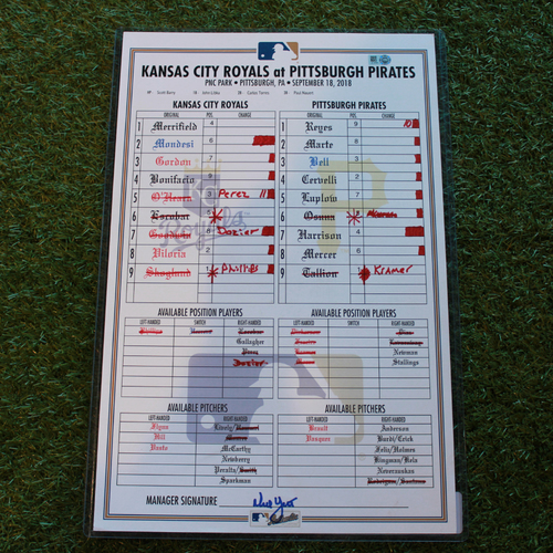 Photo of Game-Used Line-Up Card: Jameson Taillon Career High 11 Strikeouts (KC @ PIT - 9/18/18)