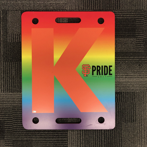 Photo of San Francisco Giants - 2017 K Board - SF Pride Night - June 26, 2017 - Game Used