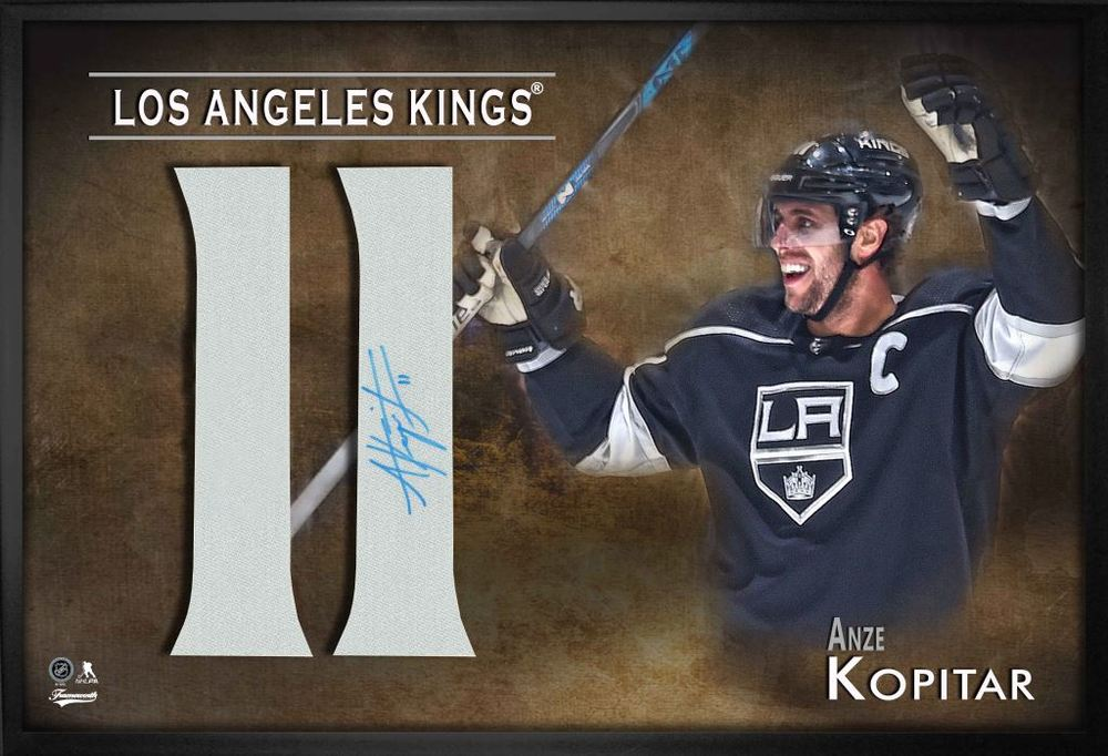 Anze Kopitar Signed Jersey Number Framed Print Kings Black
