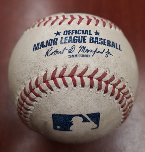 Photo of Authenticated Game Used Baseball - March 31, 2019 vs Tigers: Elvis Luciano gets Miguel Cabrera to Fly Out to LF (T8). MLB Debut for Luciano. 1st player born in 21st Century to debut in MLB.