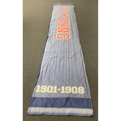 "Photo of Cy Young Team Issued Fenway Park Navy Street Banner (34""x168"")"