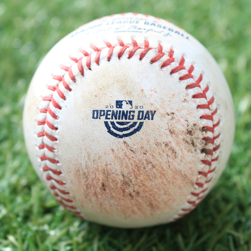 Photo of Game-Used Opening Day Baseball: Batter - Gordon, Pitcher - Keuchel, Ball in Dirt, Bottom 4 (7/31/20 CWS @ KC)