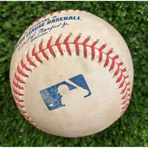 Photo of Nick Markakis Game Used Hit Single Baseball, Luis Castillo pitched - October 1, 2020 - Wild Card Game 2