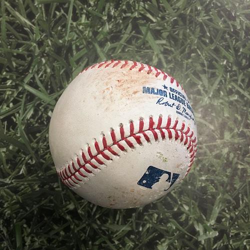 Photo of Game-Used Baseball LAD@MIL 05/02/21 - Mike Kickham - Billy McKinney: Double