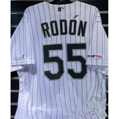 Photo of Carlos Rodon 2019 Team-Issued White Pinstripe Jersey - Size 48