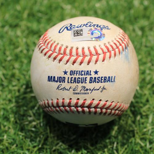 Photo of Game-Used Baseball: Jackson Kowar 2nd Career Strikeout (BOS@KC 6/19/21)