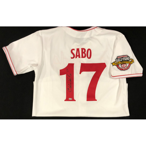 Photo of Chris Sabo - AUTOGRAPHED Game Used Jersey: Reds Hall of Fame Legends Game