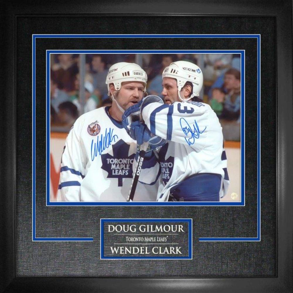 Doug Gilmour & Wendel Clark - Dual-Signed 11x14 Etched Mat Talking