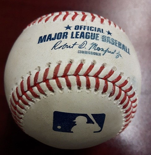 Photo of Authenticated Game Used Baseball - James Paxton's No Hitter Game on May 8, 2018. Single by Robinson Cano against John Axford and Nelson Cruz grounds into a Double Play (Top 9)