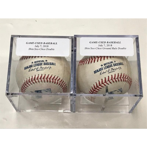 Photo of Game-Used Baseballs: Shin Soo-Choo Double and Player-Collected Ground Rule Double